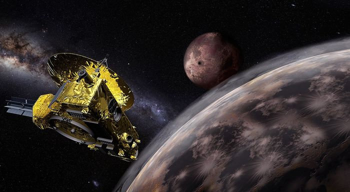 An artist's impression of the New Horizons spacecraft, as it whizzed past Pluto and one of its moons.