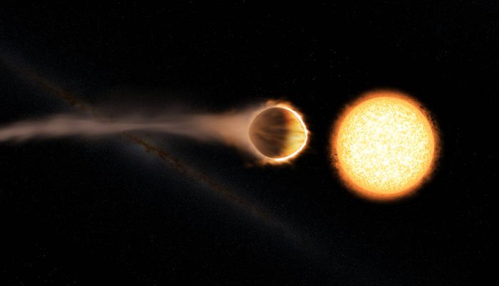 WASP-121b is a hot Jupiter-like exoplanet that apparently has a glowing atmosphere.