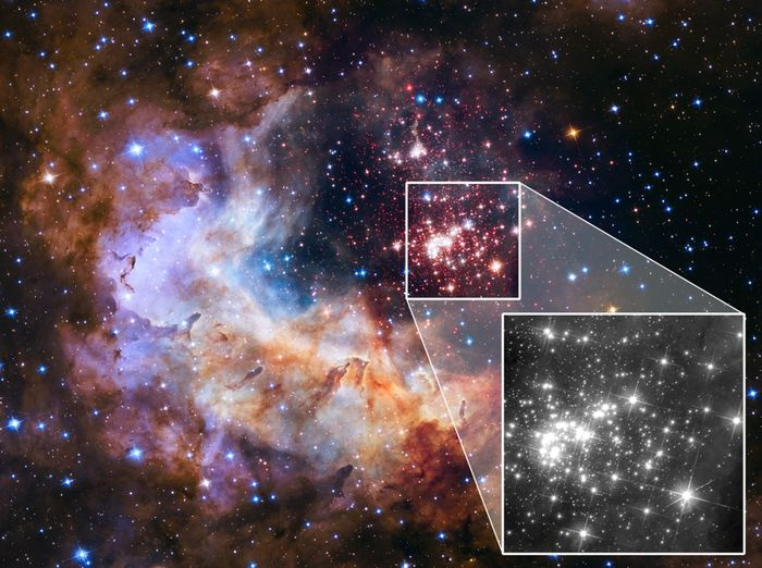 Westerlund 2 is a young star cluster that NASA hopes to study with the JWST. Hubble has already peered at it extensively.