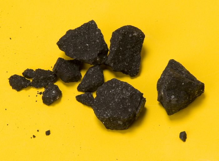 This image from NASA is of samples from Sutter's Mill Meteorite, a carbonaceous chondrite which landed on April 22, 2012. Sutter's Mill is associated with the California Gold Rush. Image Credit P. Jenniskens (SETI Institute) and Eric James (NASA Ames)