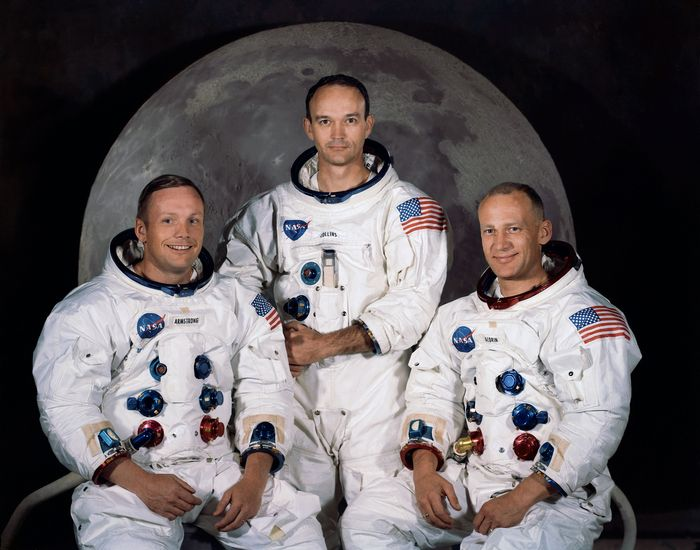 Apollo 11 crew, who made the first manned landing: commander Neil Armstrong, CM pilot Michael Collins, and LM pilot Buzz Aldrin