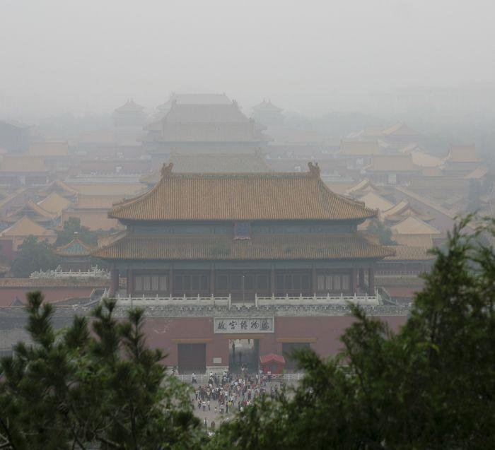 Smog over Beijing's Forbidden City