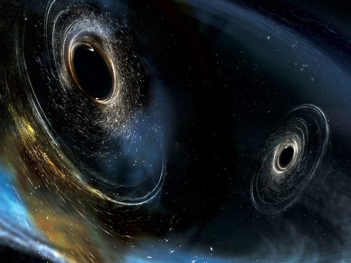 An artist's impression of two black holes merging together to form gravitational waves like those found by LIGO.