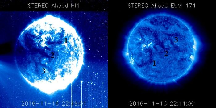 A blue orb is seen trekking across the Sun's surface. But what is it?