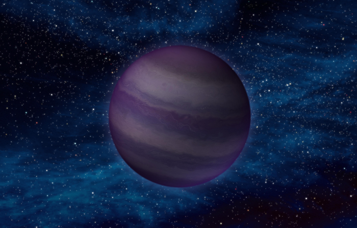 An artist's impression of a brown dwarf in space.