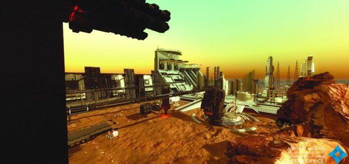An artist's impression of a Martian city.