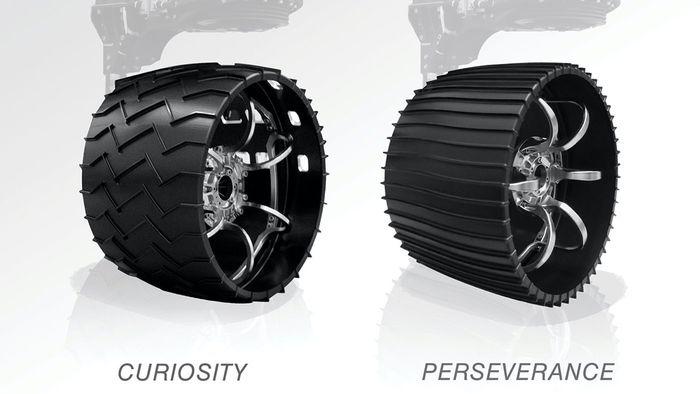 Curiosity's wheel (left) vs. Perseverance's wheel (right).