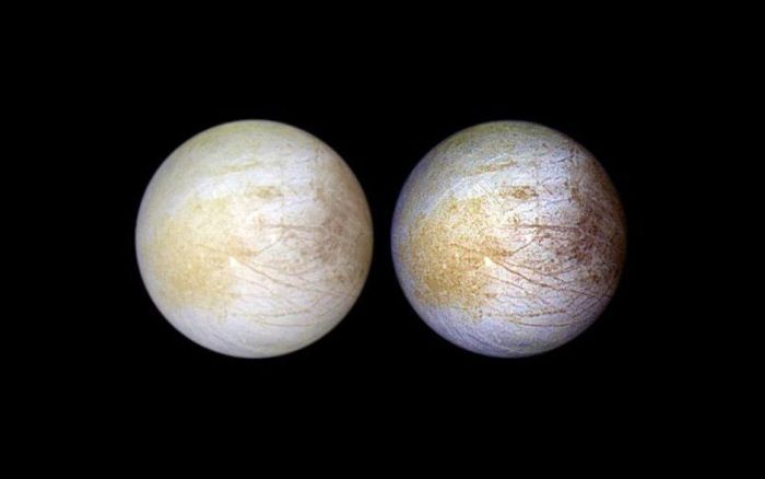 The yellow regions on Europa are now thought to be sodium chloride.