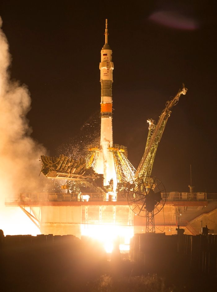 The Soyuz rocket as its engines ignited at the Baikonur Cosmodrome to deliver Expedition 60 to the International Space Station.