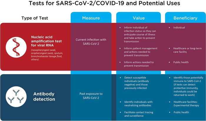 Tests for SARS-CoV-2/COVID-19 and potential uses. / Credit: Patel et al mBio 2020