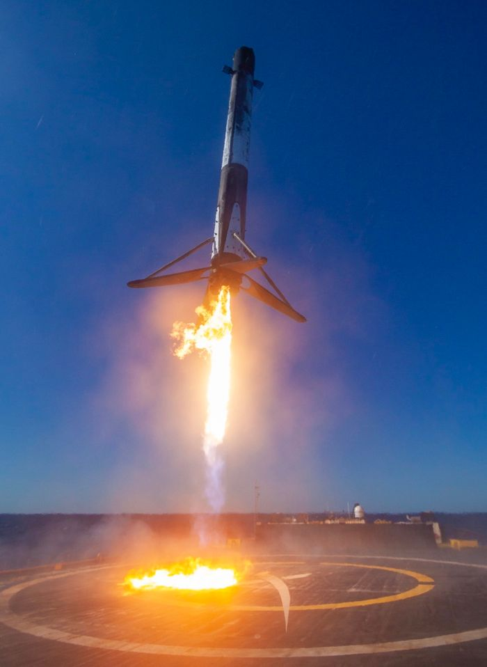 The Falcon 9 rocket returns to Earth to land upright on SpaceX's notorious drone ship.