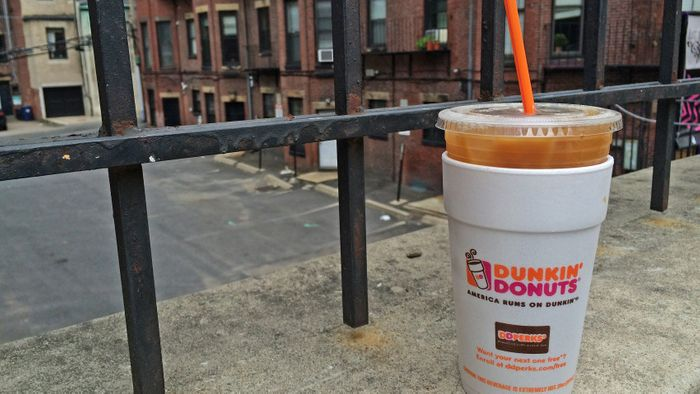 Ouch! The double whammy of plastic (recyclable) and styrofoam (straight to the landfill). Photo: Boston.com