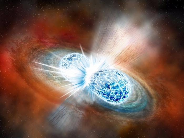 An artistic impression of two merging neutron stars (NASA)