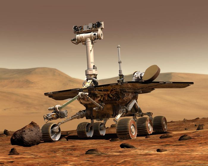 An artist's rendition of a healthy Opportunity rover.