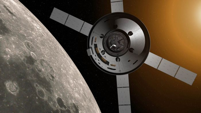 An artist's impression of the Orion spacecraft with the ESM attached.