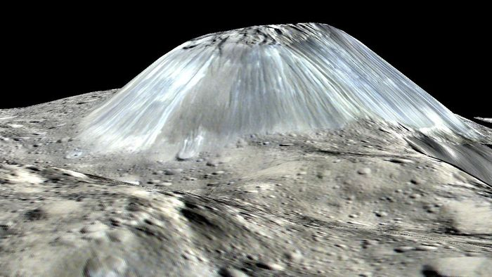 A simulated image showing the ice volcano Ahuna Mons on Ceres.