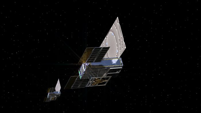 An artist's impression of the MarCO CubeSats in space.