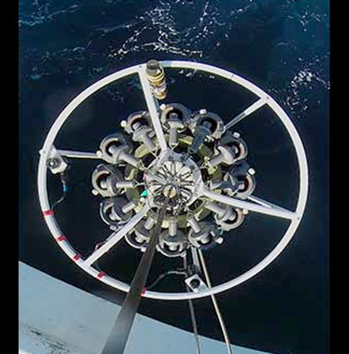 Researchers send this device deep into the ocean to collect samples of ocean water and look for microbes. / Credit: UBC