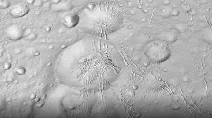Massive craters on the moon's Northern surface.
