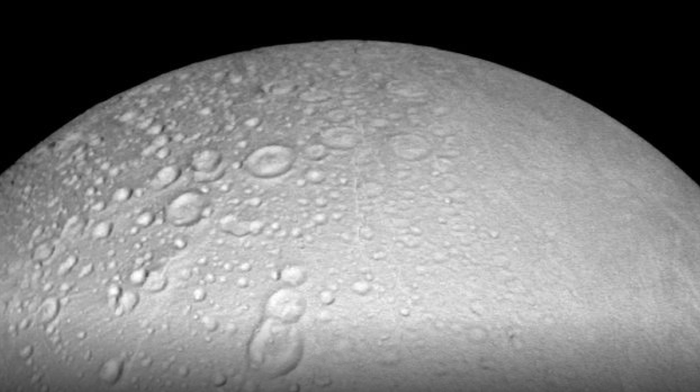 A high-up view of Enceladus' North Pole, as taken by Cassini.