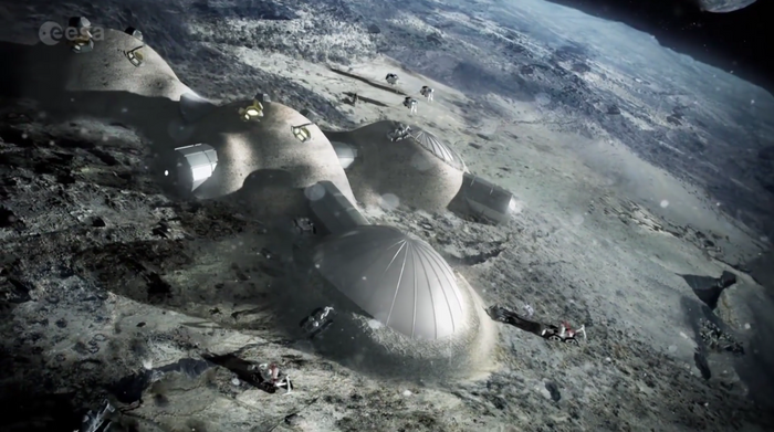 An artist's interpretation of a lunar village created by the European Space Agency.