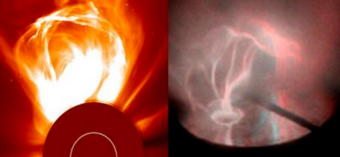 The real thing (left) compared to the lab simulated coronal loops (right).