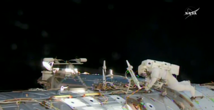 Astronauts conduct the 201st spacewalk on the International Space Station for urgent repairs Tuesday morning.