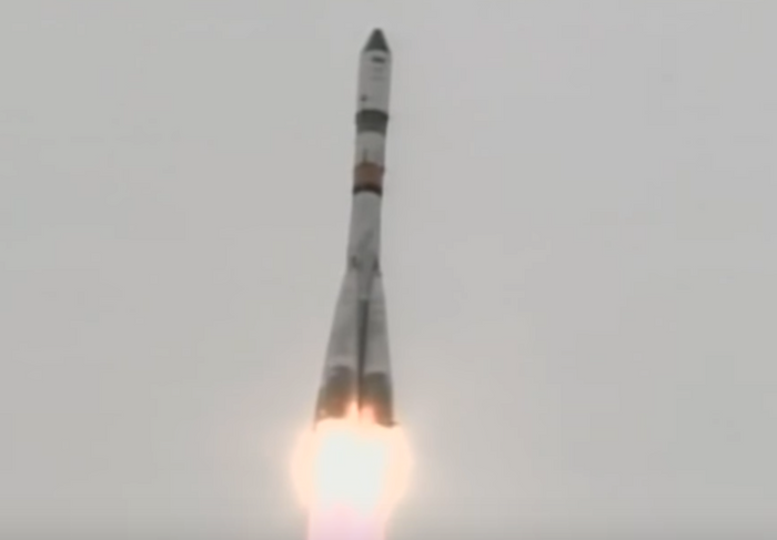 The Russian Progress MS-06 freighter launches atop a Soyuz rocket to re-supply the International Space Station.