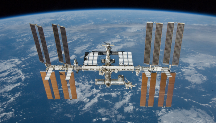 The International Space Station is featured in this image photographed by an STS-132 crew member on space shuttle Atlantis. / Credit: NASA/Wikimedia Commons