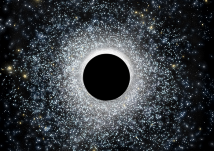 An artist's impression of a 'middleweight' black hole at the center of a star cluster.