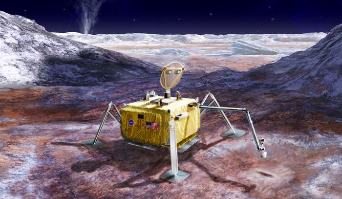 An artist's impression of a lander on Europa's surface.