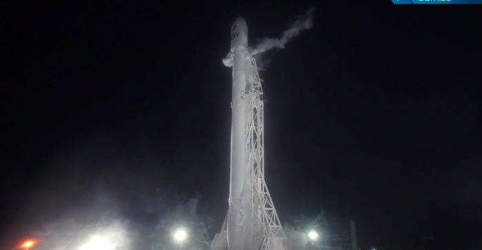 The SpaceX Falcon 9 rocket stands before launch at California's Vandenberg Airforce Base on October 9th.