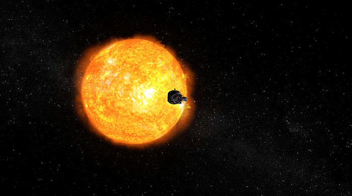 An artist's rendition depicting the Parker Solar Probe as it approaches the Sun.