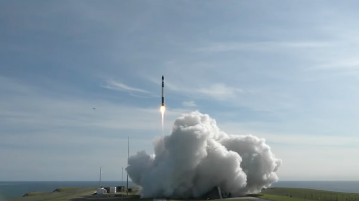 Rocket Lab's Electron Rocket as it lifted off from a launch pad on Sunday.