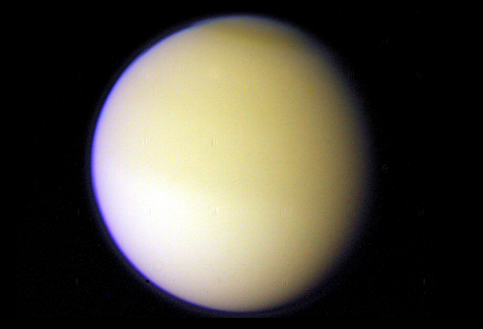 An image of Saturn's moon Titan on November 11, 1980 during Voyager 1's flyby. Courtesy NASA/JPL-CalTech/Kevin M. Gill