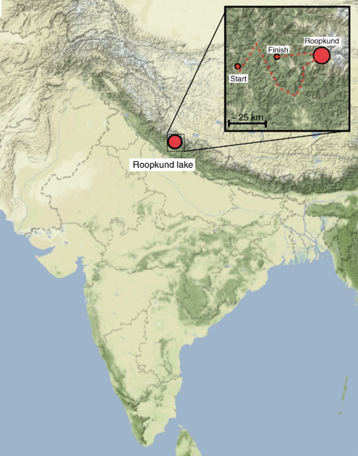 Map showing the location of Roopkund Lake, inset shows approximate pilgrimage route / Credit: Harney et al Nature Communications 2019