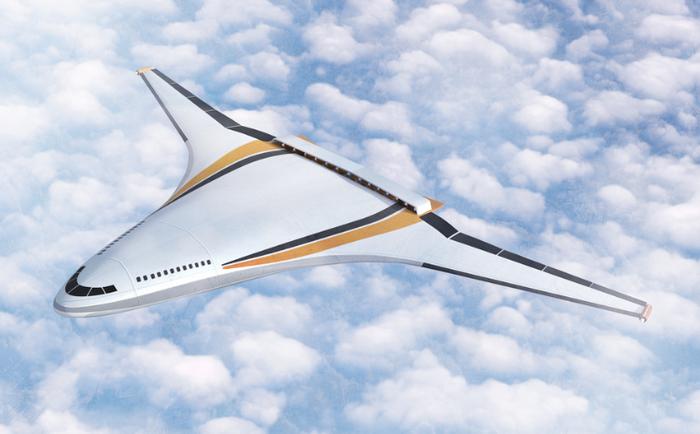 N3-X Hybrid Wing Body Turboelectric Plane Concept. Credits: NASA