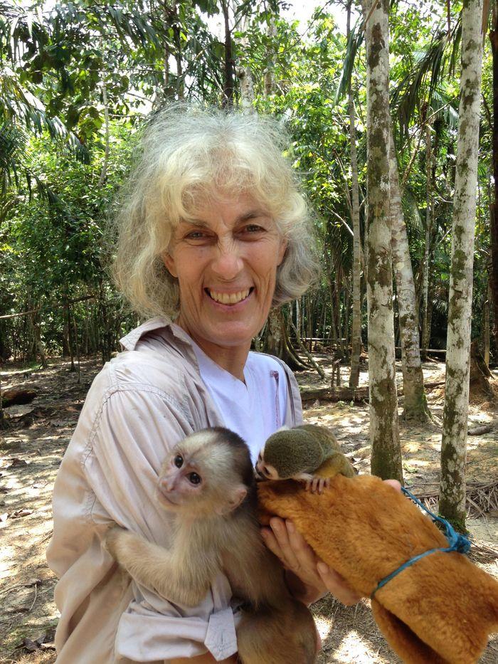Sara Bennett with the monkeys