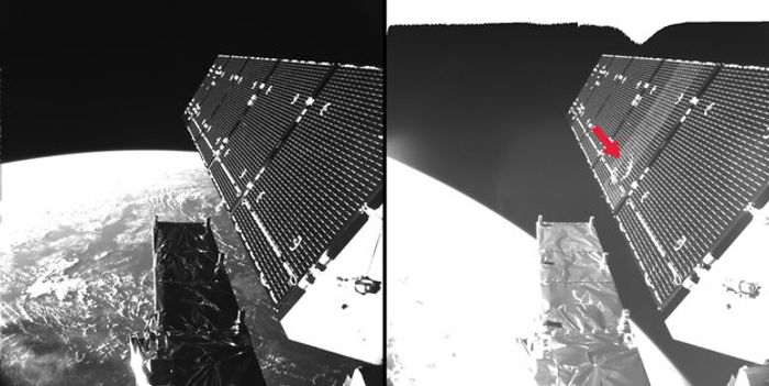 A before and after photo of the space junk impact damage on the ESA's satellite.