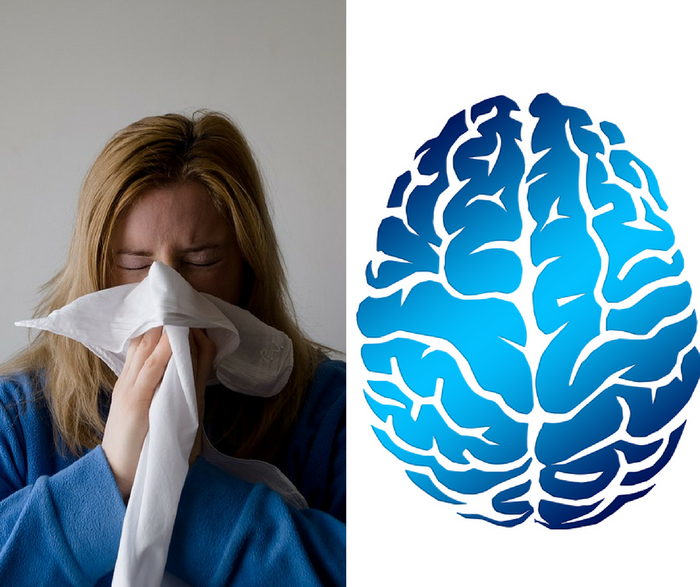 How are common allergic diseases linked to psychiatric disorders?