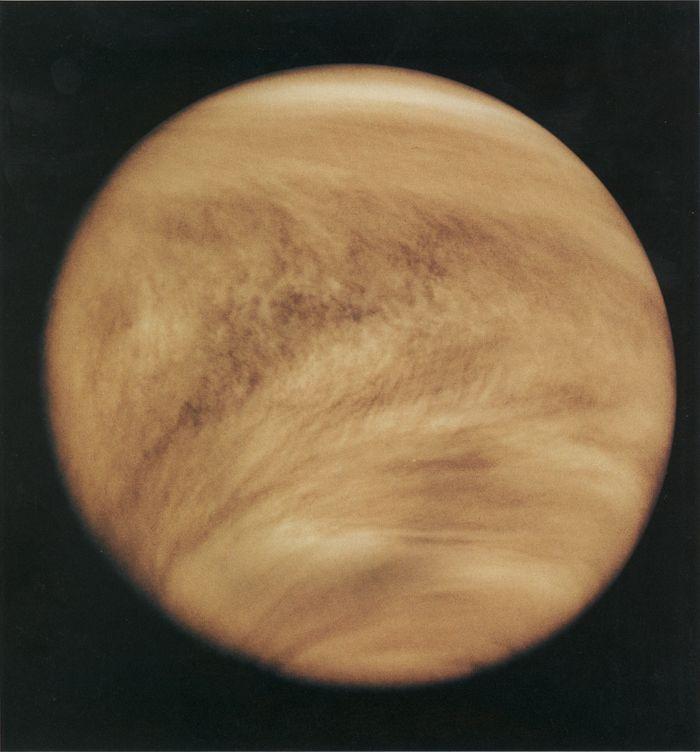 Venus as photographed by the Pioneer spacecraft.