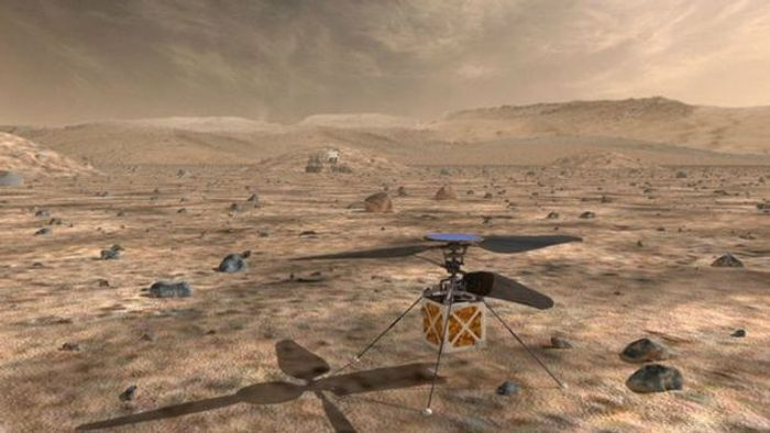 An artist's rendition of the autonomous helicopter expected to launch with the Mars 2020 rover.