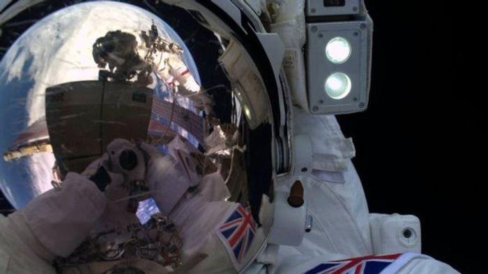 Tim Peake takes a selfie in the midst of his spacewalk.