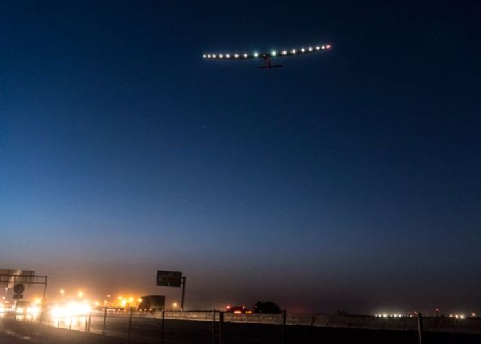 A photo of Solar Impulse 2 taking off from Seville, Spain and heading for Cairo, Egypt.