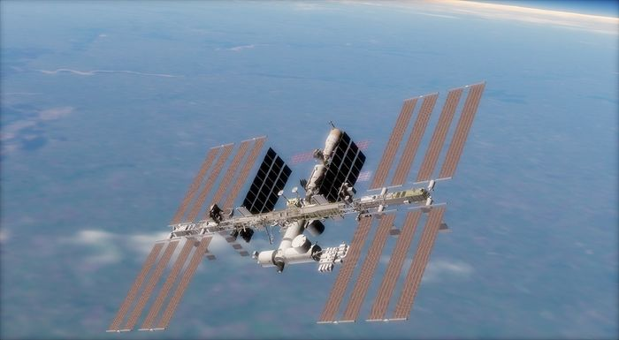 A view of the International Space Station from space.