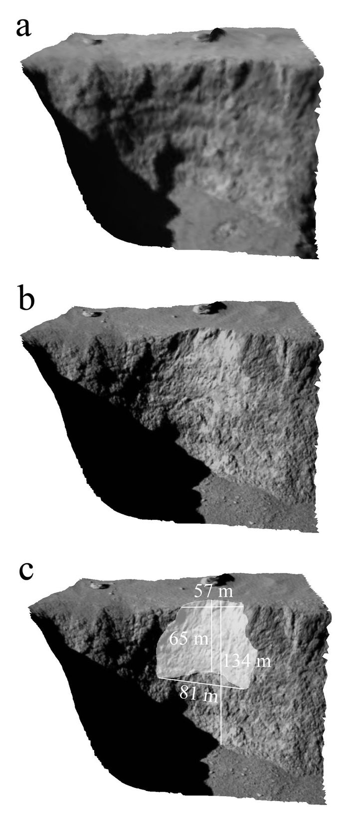 A set of images that illustrate the Aswan cliff before and after the landslide.