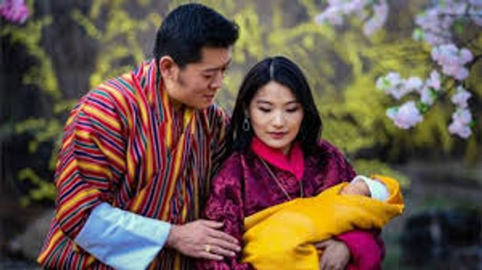 King Khesar and Queen Jetsun with their first child