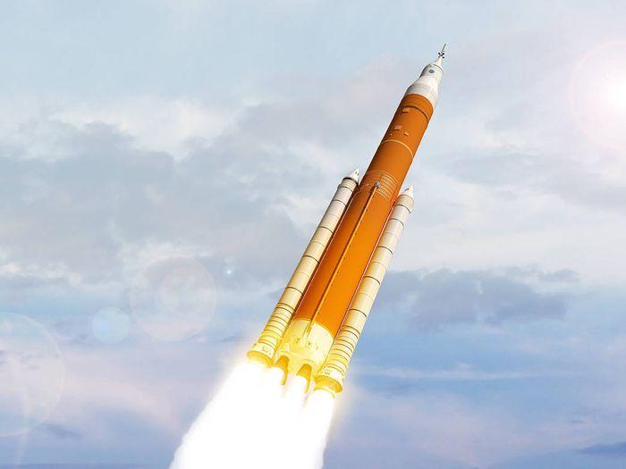 An artist's impression of NASA's completed SLS rocket.