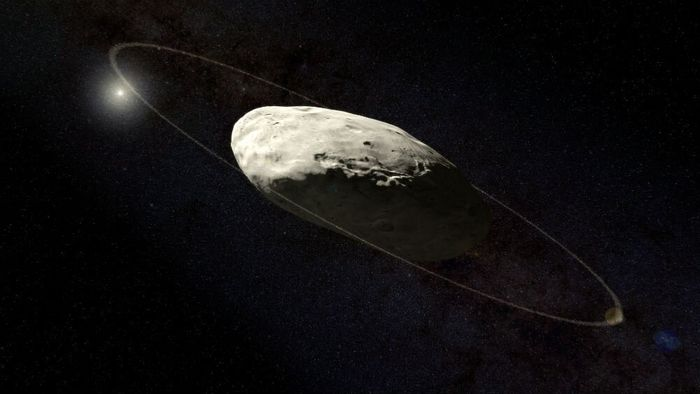 An artist's rendition of Haumea and its planetary ring.