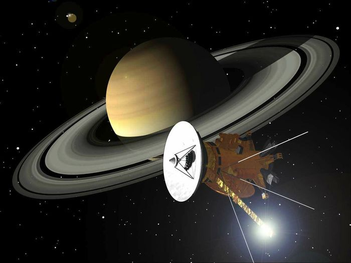An artist's impression of the Cassini probe at Saturn.